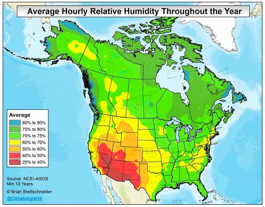 The Average annual relative humidity using hourly observations